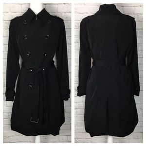 London Fog | Double Breasted Trench Coat Black